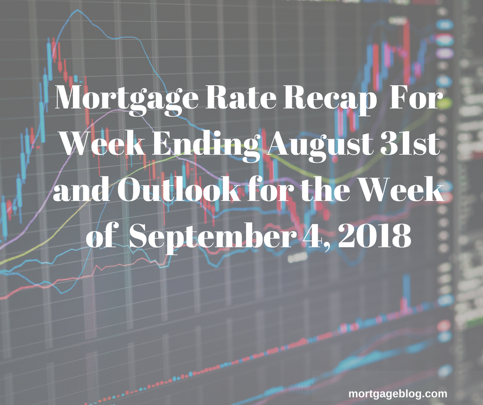 Mortgage Rate Recap For Week Ending August 31st and Outlook for Week of September 4, 2018