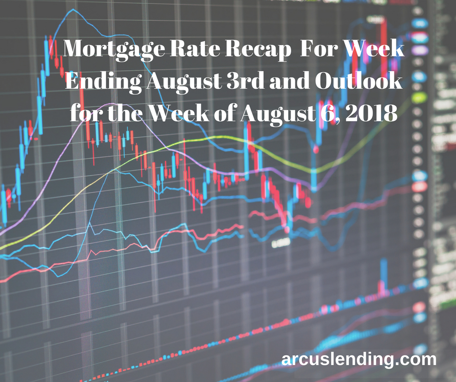 Mortgage Rate Recap For Week Ending August 3rd and Outlook for Week of August 6, 2018 (1)