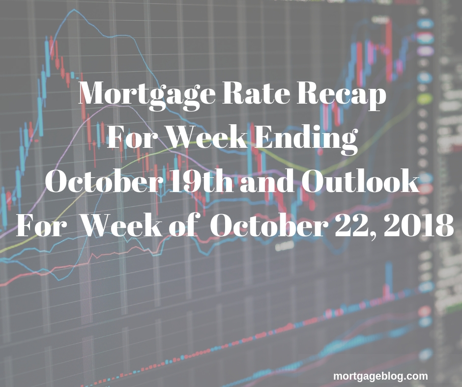 Mortgage Rate Recap For Week Ending October 5th and Outlook For Week of October 8 2018